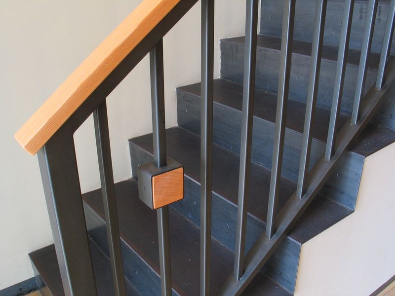 Blackened Steel Staircase Railing Pivoting Wall Dk Works
